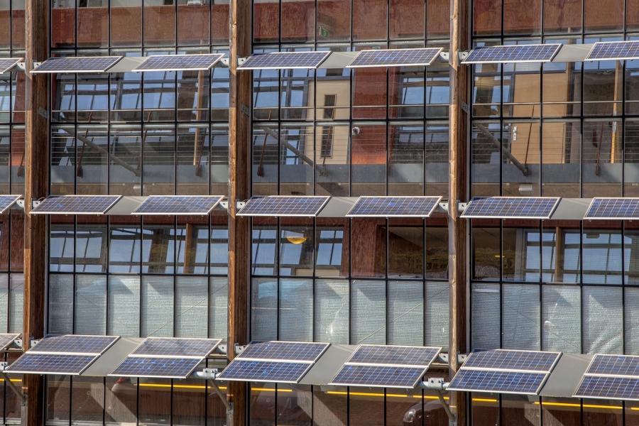 Solar Panels On An Office Building